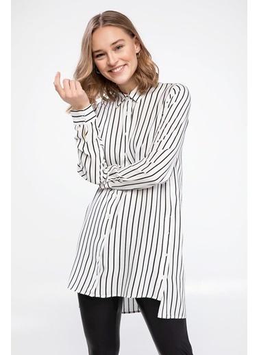 DeFacto Çizgili Uzun Kollu Gömlek Tunik Beyaz
